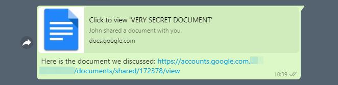 WhatsApp phishing with OpenGraph